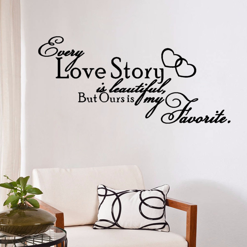Bedroom wall art quotes - Aliexpress Com Buy Rhinoceros Beetle Vinyl Words Removable Wall Decals Quotes Bedroom Stickers Every Love Story Is Beautiful But Ours My Favorite From