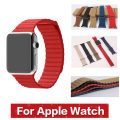 Free shipping Leather Loop Strap Bracelet Stainless Steel Band Magnet for iWatch Apple Watch/Sport / Edition 42mm 38mm Watchband