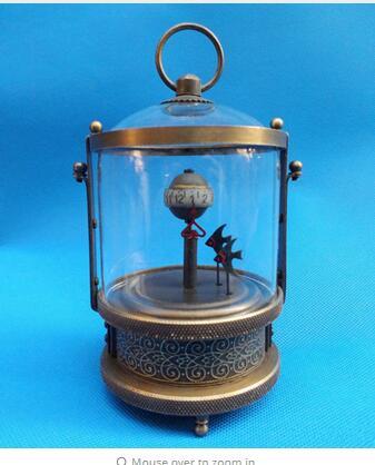 Décoration bronze usine pur laiton Antique ancien intéressant à collectionner décoré merveilleux cuivre poisson mécanique horloge de Table