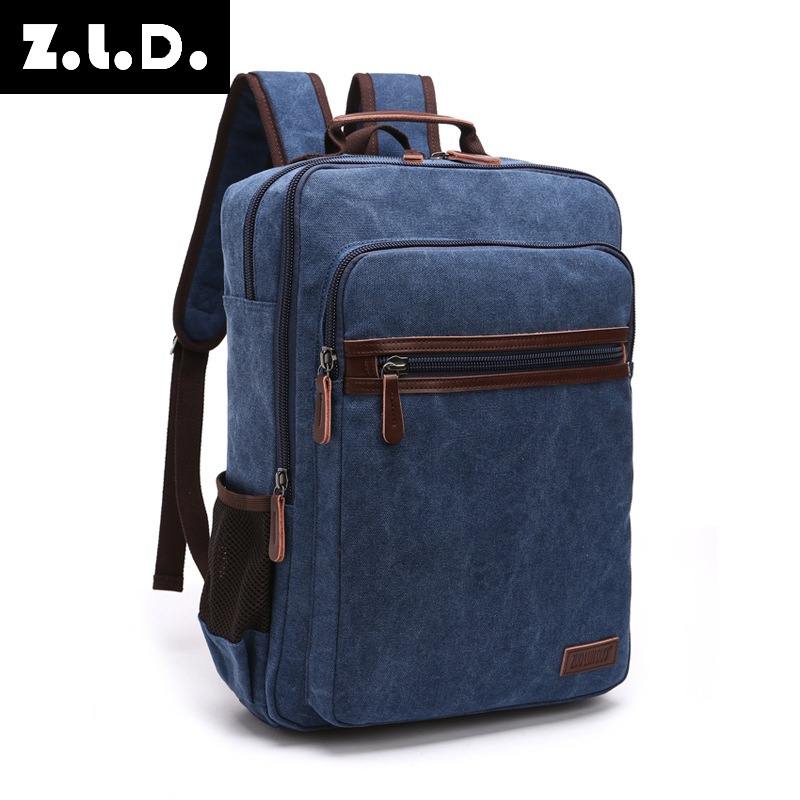 New Fashion Shoulder Strap Zipper Solid Casual Bag Male Backpack School Bag Canvas Bag Designer Laptop Backpacks