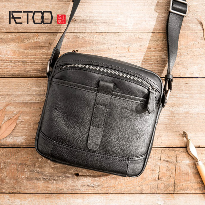 AETOO New leather shoulder bag difference bag male casual retro men s suede leather soft leather