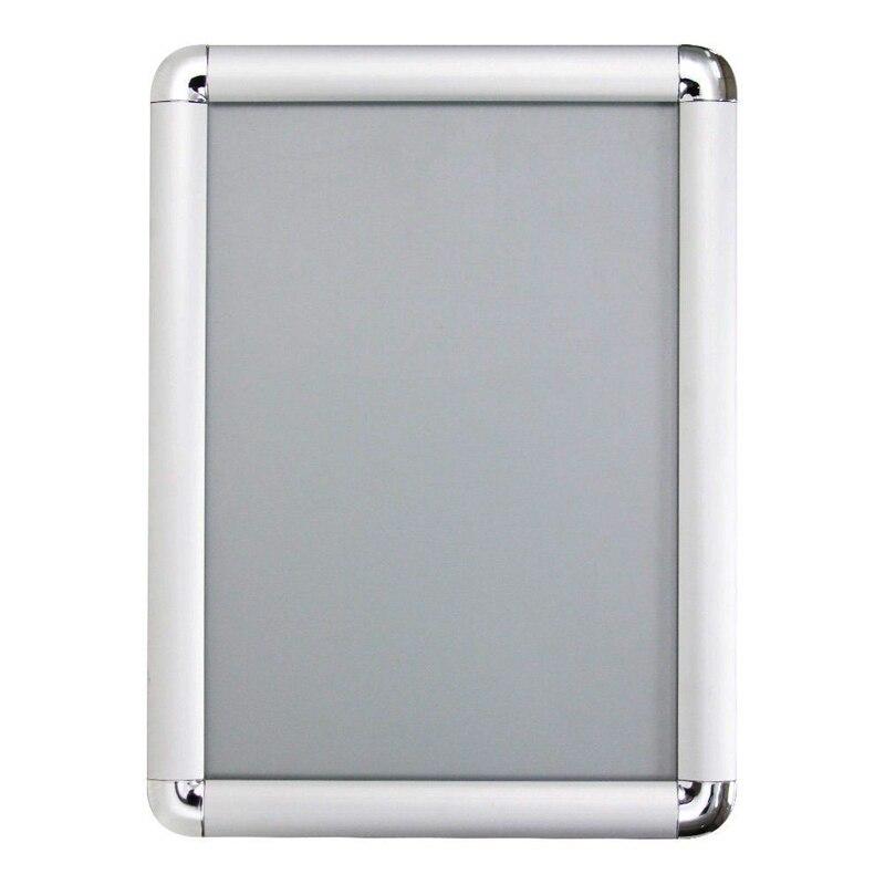 15,8x23,6 односторонняя серебристая алюминиевая простая кадрирующая рамка с круглым угловым светодиодным световым ящиком для постеров, меню, графика