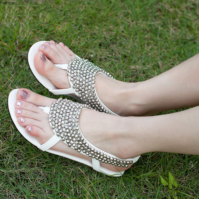 21f30388e85dc 2018 latest fashion Summer flat sandals women Bohemia Handmade Beaded  Female Sandals Pearl Rhinestone Flat Sandals -in Women's Sandals from Shoes  on ...