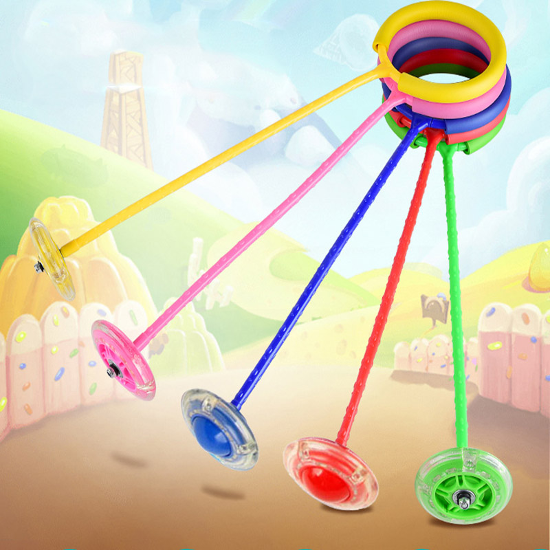 Children Flashing Jumping Rope Ball Colorful Ankle Skip Sports Swing Ball Toys Fun Skip Rope Ball Playground Sports Kits FJ88