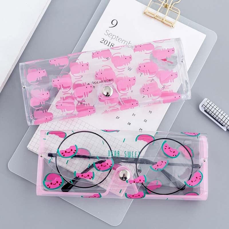 Cute Cartoon Travel Women Transparent PVC Eye Glasses Box Bag Case Protection Carry Box Eyewear Accessoires