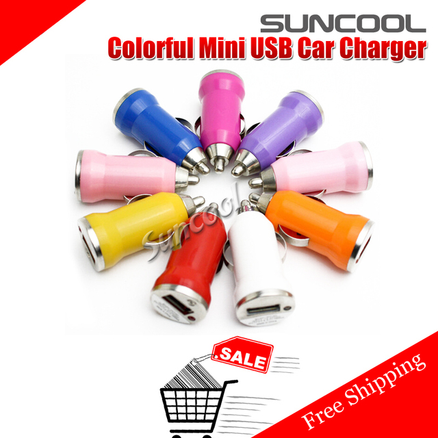 SUNCOOL Hot 2014 5v colorful mini usb Bullet car charger adapter for iphone4 4s 5 5s 6 for i pad mobile phone mp3 mp4 samsung
