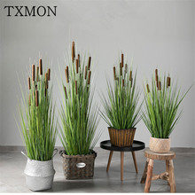 Nordic ins simulation plant beauty Chen potted water candle pot simulation reeds grass water candles pots decoration office
