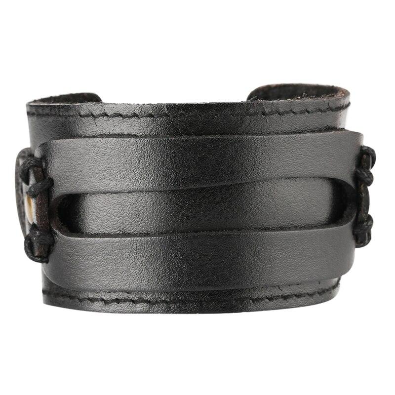 Vintage Leather Cuff Bracelet Men Women Steampunk Accessory Cowhide Bangle Punk Jewelry
