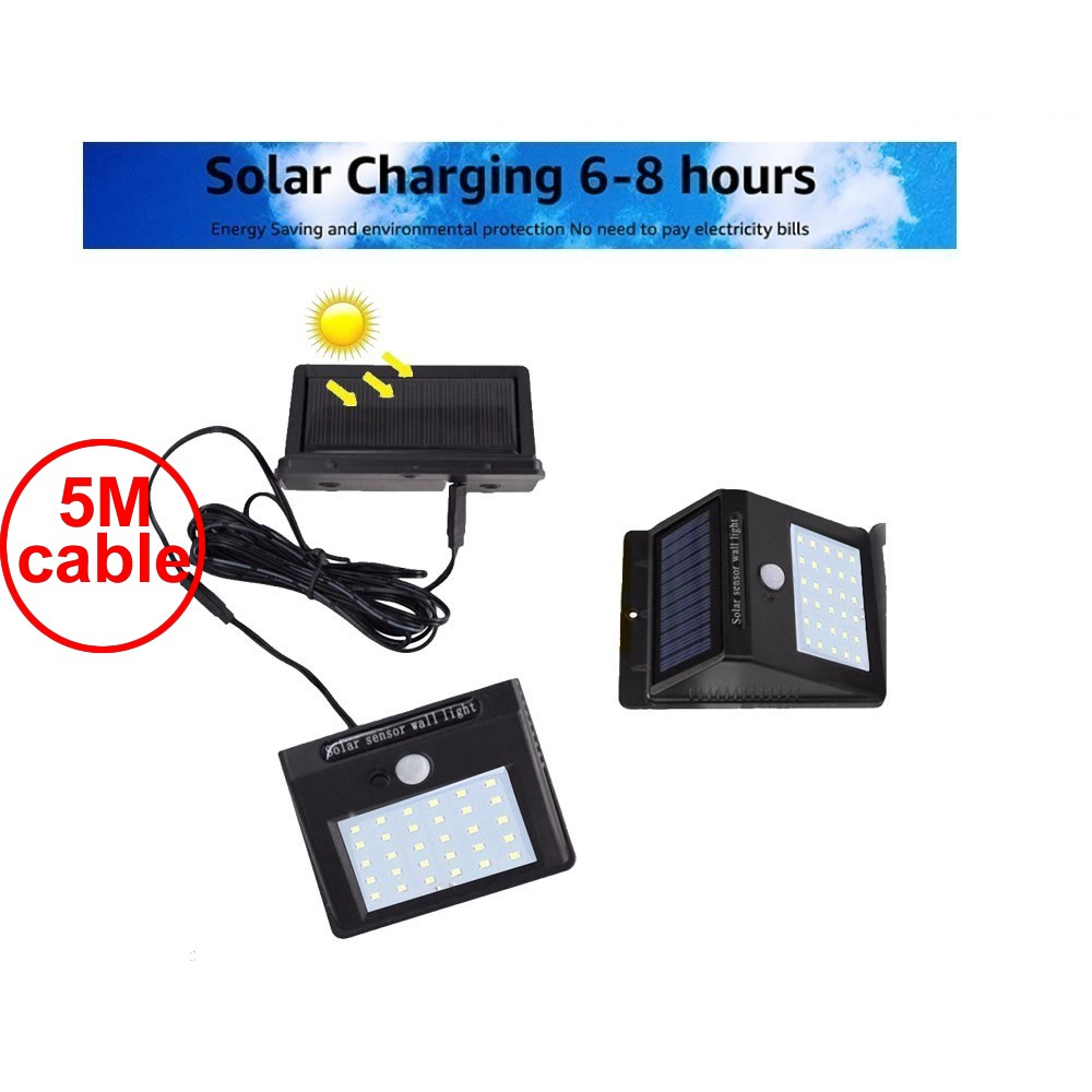 30 Leds Detachable Panel Solar Light Pir Motion 3 Senser 2018 New Solar Led Lamp Bulb Strips Wall Street Outdoor Security Decor