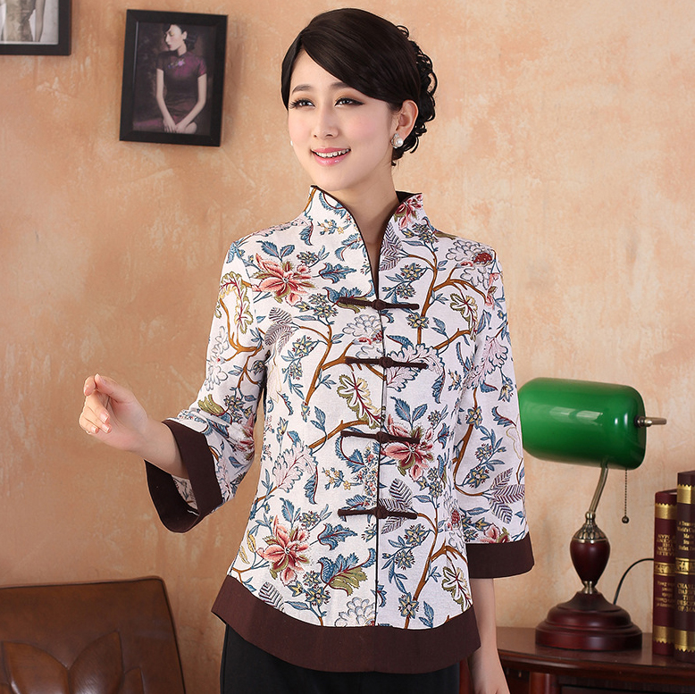 Summber Fashion Chinese tradition Linen Womens   blouse     shirt   tops size S M L XL XXL XXXL