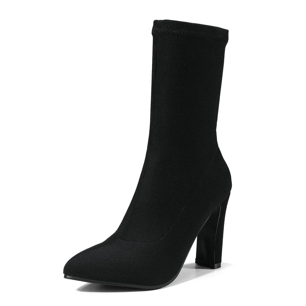 Plata Telas Botas Aiweiyi Boot silver Negro Black Estiramiento Mujeres Banda Mediados Cuadrado Tacones Elástico Mujer Altos Calf De wXqwxpE5