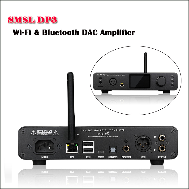 SMSL DP3 Bureau Équilibrée DAC Auido Amplificateur ES9018Q2C USB DAC DSD Numérique Lecteur Hifi Amplificateur Bluetooth Audio Amp