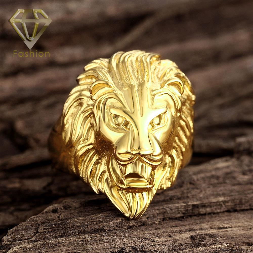 of men in from tone gold fashion leo gift animal face head steel item punk huge s rings king lion stainless x mas silver ring jewelry biker