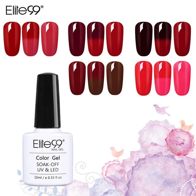 Elite99 Temperatur Ändern Wein Rot Thermische Nagel Gel Soak off UV Gel Polnischen Stamping Emaille Farbwechsel Hybrid Lack 10 ml