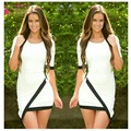 Sexy Dress Black And White Collision Color Stitching Hip Sleeve Skirt Half Sleeves Lady Sexy Gown Party Cocktail Dresses 2017
