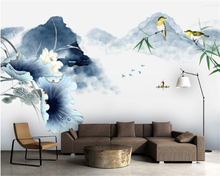 beibehang High Silk Cloth Wallpaper New Chinese Style Abstract Ink Painting Landscape Wall Decorative 3d wallpaper