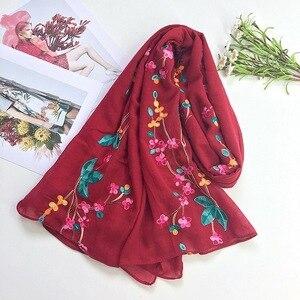 Image 3 - NIEUWE Vrouwen Vlakte Effen Geborduurde sjaal moslim hijaabs sjaals islamitische mode wraps bandana sjaals heads 10 stks/partij snelle verzending