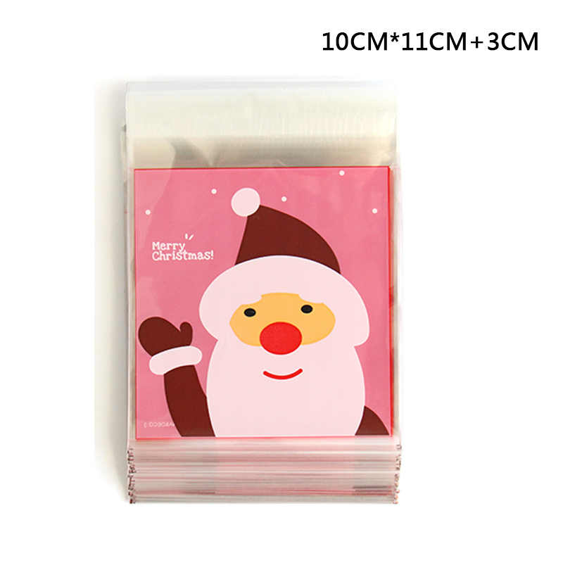 25Pcs Cute Christmas Cartoon Gifts Bags Cookie Packaging Self-adhesive Plastic Bags For Biscuits Candy Cake Wedding Package