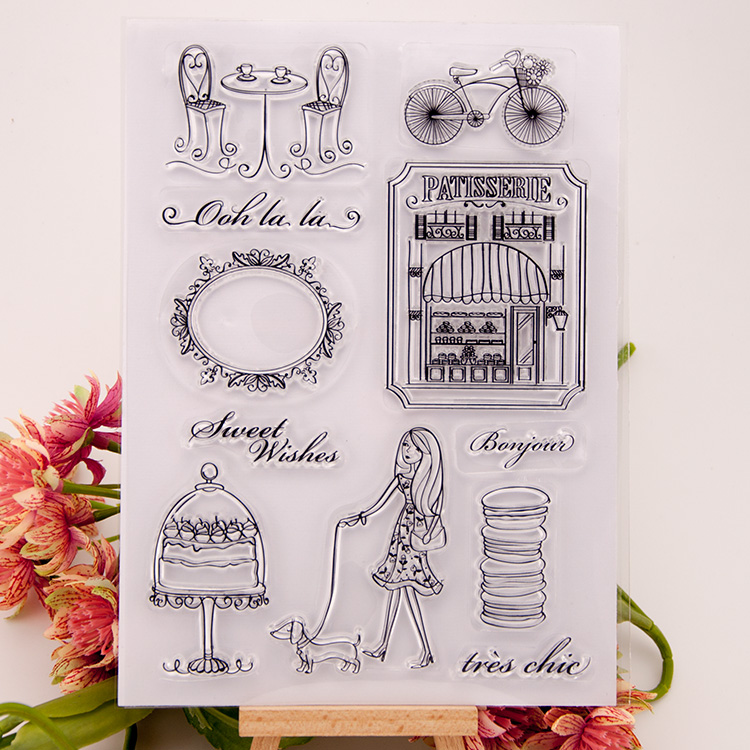 Clear stamp Scrapbook DIY photo cards account rubber stamps clear transparent seal handwork art Kid gift Free time lady dog spider texture background scrapbook diy photo cards account rubber stamp clear stamp transparent stamp handmade card stamp