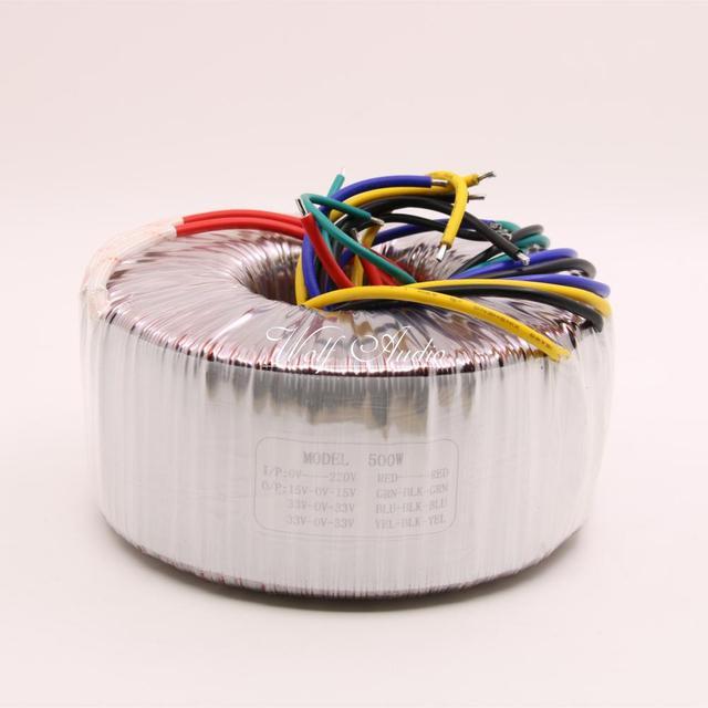 500วัตต์หม้อแปลงToroidal AC220Vเอาท์พุท:คู่33โวลต์* 2คู่+ 15โวลต์ลวดทองแดงบริสุทธิ์สูงแหล่งจ่ายไฟเพาเวอร์
