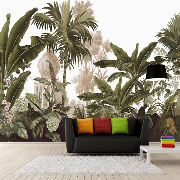Custom Wall Mural Wall Paper Hand Painted Rain forest Banana Leaves Living Room Sofa Large Murals Wallpaper Home Decor image