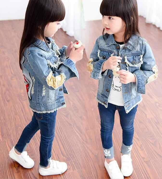 942850ed71529c ... Brand Baby Girls Hole Denim Jackets Coats Fashion Children Outwear Coat  Sequins Little Girl Design Girls