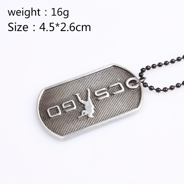 Game CSGO Engraving Letter Tag Necklace