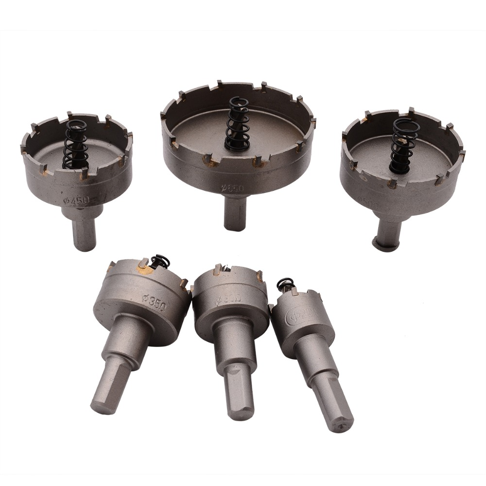 6Pcs Carbide Tip TCT Drill Bit Hole Saw 22-65mm Drill Bit Set Hole Saw Cutter For Stainless Steel Metal Alloy Drilling tungsten steel carbide tipped tct drill bit metal cutter core hole saw core drill bit dia 16 100