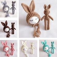 Newborn Photography Props Crochet Rabbit Baby Hat Handmade Newborn Props Baby Bonnet Infant Newborn Studio Photo Shoot Prop