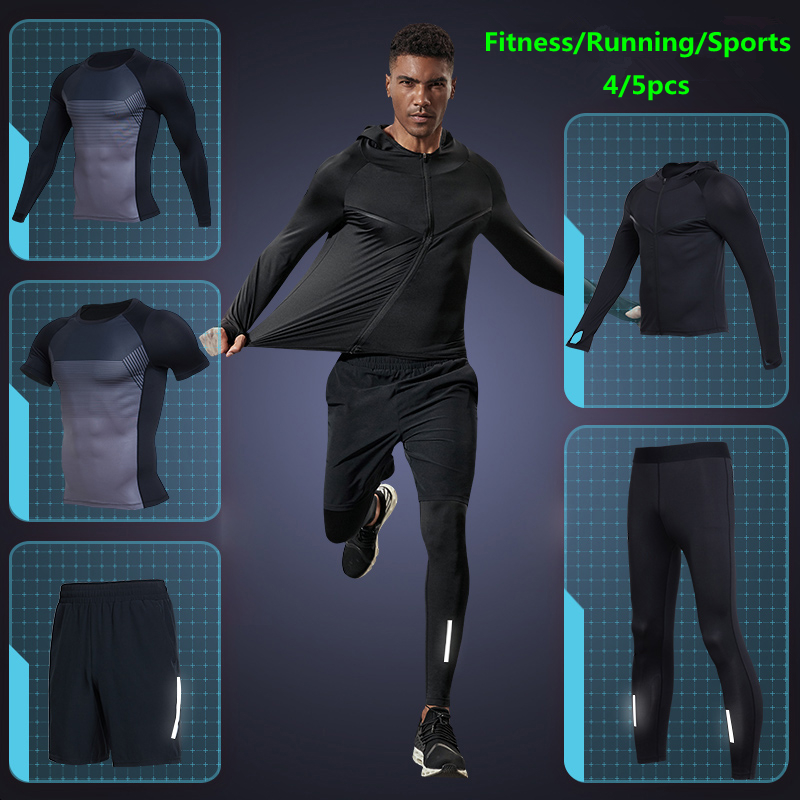 Gym Compression Tights Sets Men s Running Sports Suits Quick Dry Clothes Fitness Sportswear Training Jogging