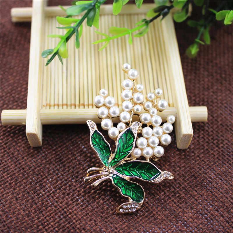 Enze Populer Wanita Perhiasan Putih Mutiara Imitasi Tanaman Daun Merah Strawberry Bros untuk Wanita Pakaian Pria Grosir Aksesoris