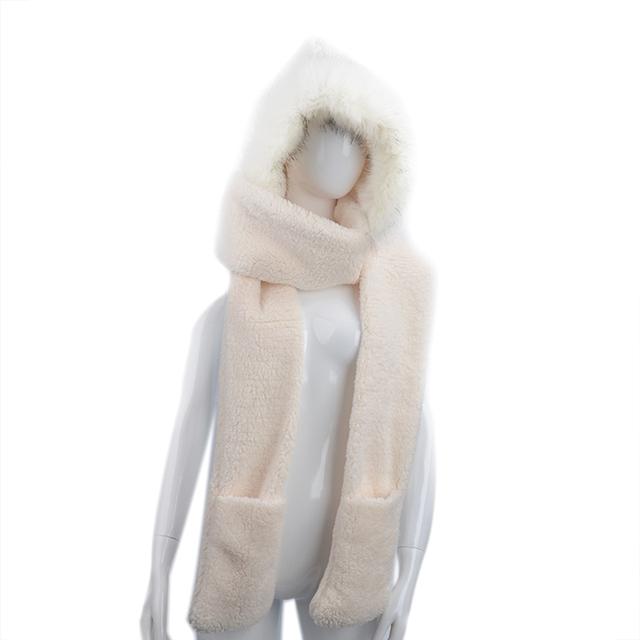 Fur Trim Hooded Scarf | Blanket Scarves