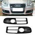 2 Unids ABS Coche Lámpara de Luz Antiniebla Parachoques Delantero de la Parrilla de Cromo Bisel Audi A4 S4 B7 05-08 Luz de niebla Parrilla