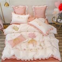 Princess style Egyptian cotton bed linen Soft Satin bedding ruffles duvet cover pillowcases bedspreads 1/4/6pcs sets