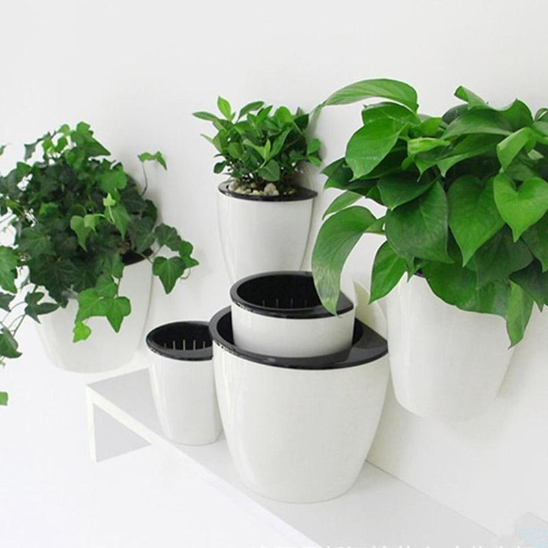 Automatic Water Absorption Flower Pot White Hanging Wall Green Plant Hydroponics Planters for Office Holder Garden Decor