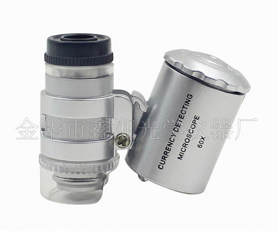 DHL 100pcs 60x Handheld Mini Pocket Microscope Loupe Jeweler Magnifier With LED Light