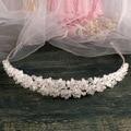 Fashion White Beaded Princess Wedding Tiara Crown Handmade Bridal Hair Jewelry Accessories Women Hairband