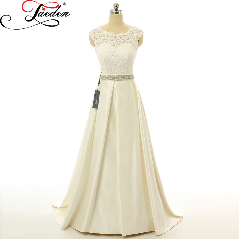 Jaeden a line lace satin wedding dresses beading sequin for Satin belt for wedding dress