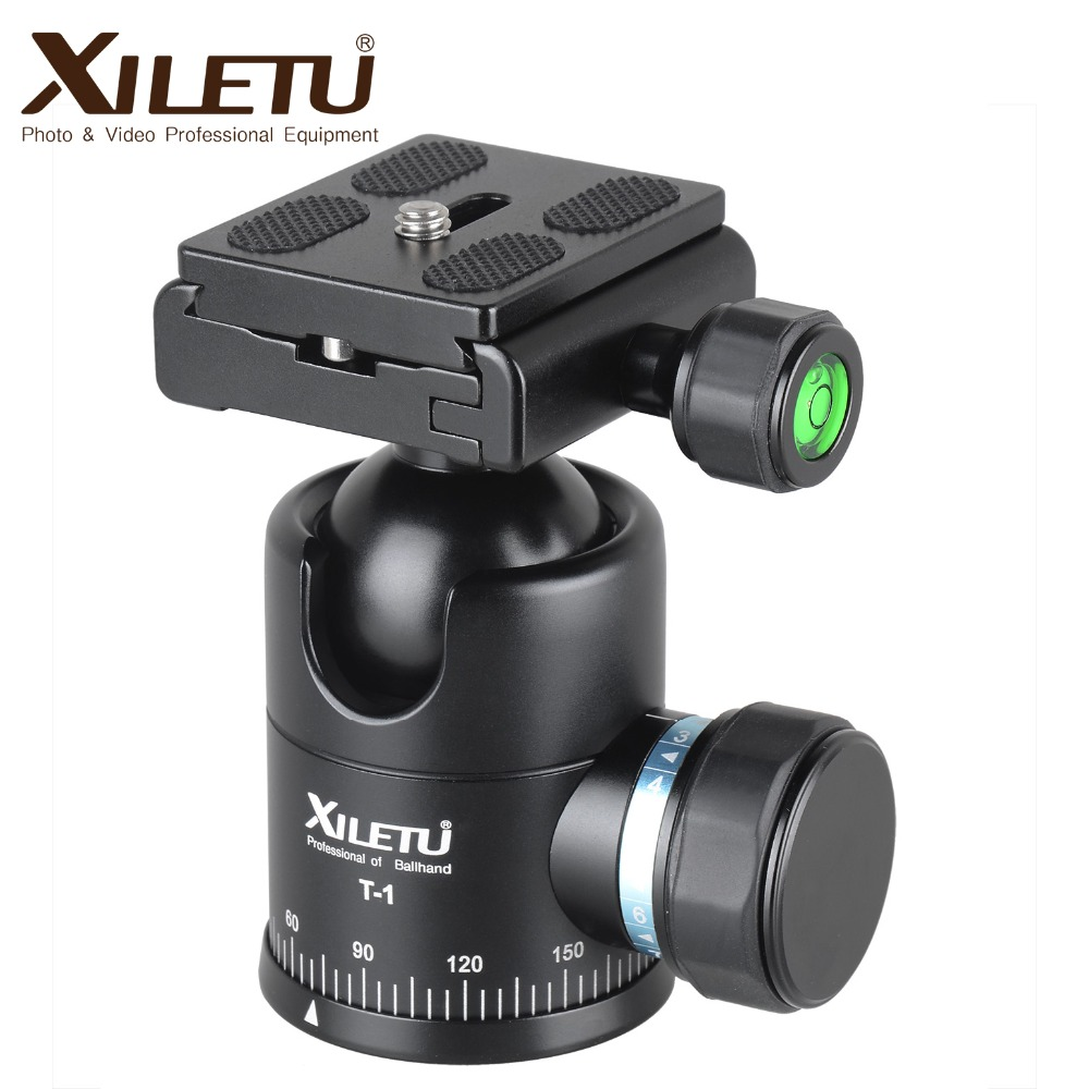 "Xiletu Τ-1 Τρίποδα αλουμινίου τριποδικής μονοποδικής κεφαλής με ταχεία πλάκα απελευθέρωσης 1/4 ""βίδα για Canon Nikon Sony Fujifilm DSLR"