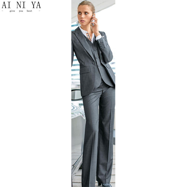 Women Pant Suits Grey 3 Piece Formal Women Ladies Business Office