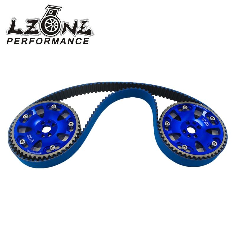 LZONE - HNBR Racing Timing Belt + Aluminum Cam Gear BLUE FOR Nissan Skyline R32 R33 RB20 RB25DET RB26DETT RB25 JR-TB1010B+6536B  free shipping light weight crank pulley new for nissan skyline gtr bnr32 rb26 dett rb20 rb25 underdrive crank pulley yc100829