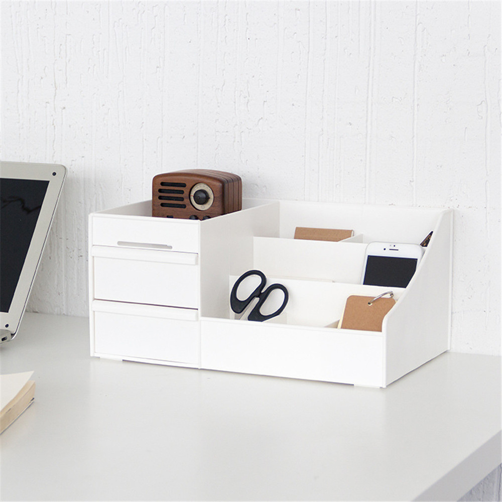 US $36.23 21% OFF|Minimalist Plastic Storage Drawer New White Desk Storage  Drawer Box Organizer Sundries Cosmetics Container for Home Office Decor-in  ...