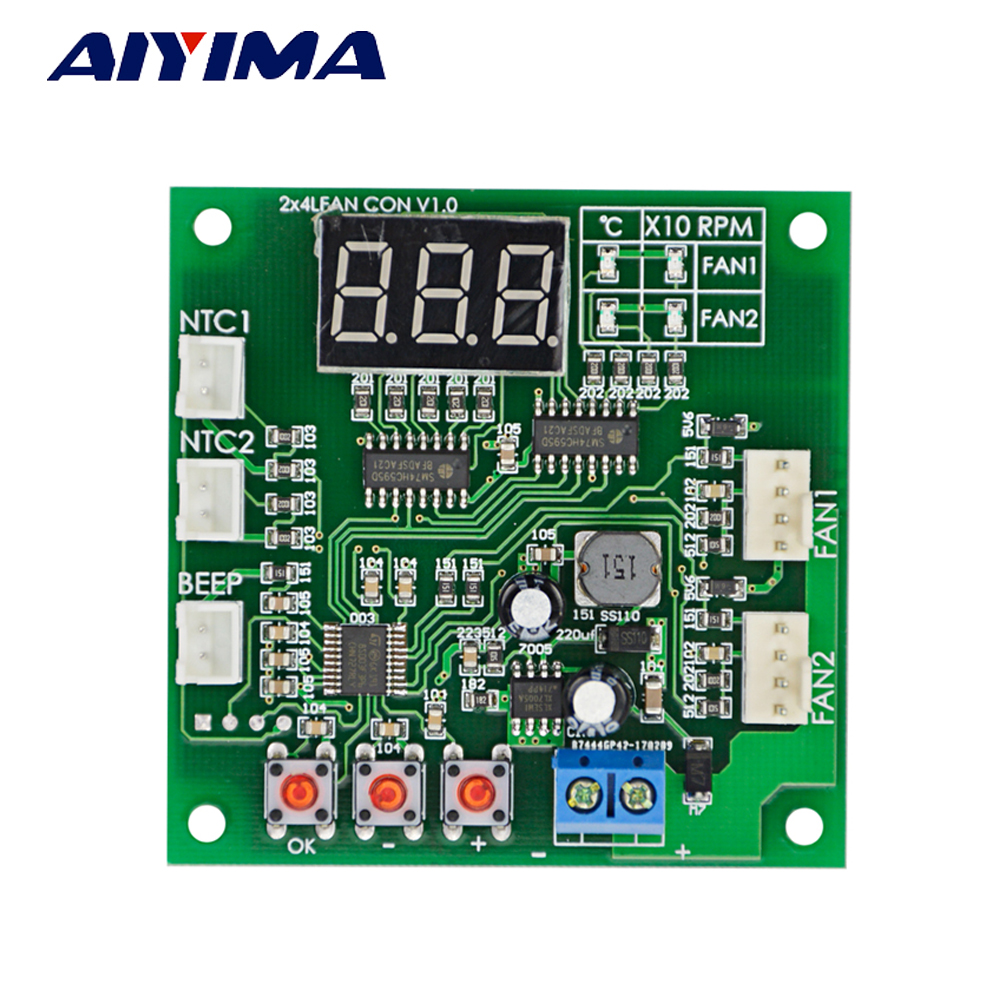 Aiyima Dc 12 24v 48v 2 Way Independent 4 Wire Pwm Temperature Pin Pc Fan Wiring Diagram Control Speed Controller In Motor From Home Improvement On