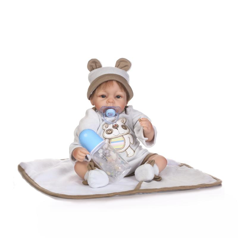 NPK Fashion 16'' Soft Silicone Reborn Baby Dolls Toy Realistic Babies Doll For Children Boy bebe Alive Bonecas Hair Rooted npk real baby reborn dolls 22 soft silicone baby reborn dolls for children gift sleeping toy dolls bebe bonecas