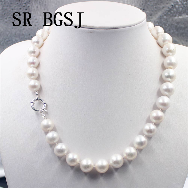 Free Shipping 11 14mm AAA Round Natural Freshwater Pearl 925 Silver Clasp Knot Elegant Jewelry Necklace