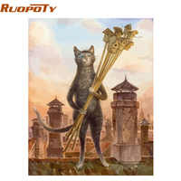 RUOPOTY Frame animals cats DIY painting by numbers kits modern wall art picture canvas paint unique gift for home decor 40x50cm