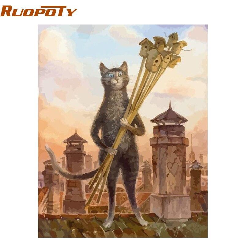 RUOPOTY marco animales gatos DIY pintura por números kits moderno pared arte cuadro lienzo pintura regalo único para la decoración casera 40x50 cm