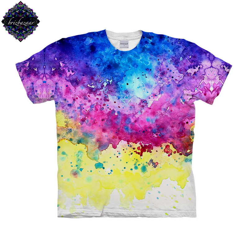 SplatterWatercolor By Brizbazaar Art Unisex T shirt 3D Print Tees Tops Harajuku Mens Camiseta Short Sleeve Streetwear t shirt