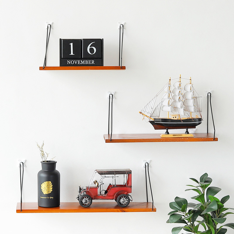 Nordic Solid wood Storage Rack Wall-mounted One-word-shape Bookshelf Creative Bedroom Living room metope decoration Bookcase