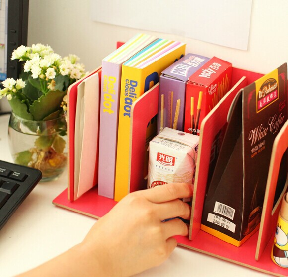 Creative Wooden Diy Office Desk Desktop Storage Organizer Rack Shelf